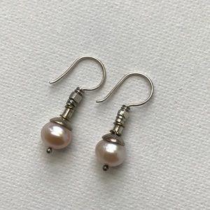 Beth Orduna Vintage Pearl Earrings Sterling Silver